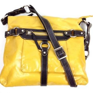Nina Bossi Yellow Leather Crossbody